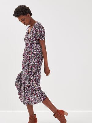 Robe longue droite boutonnee multicolore femme