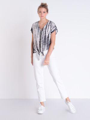 Pantalon regular a boutons blanc femme