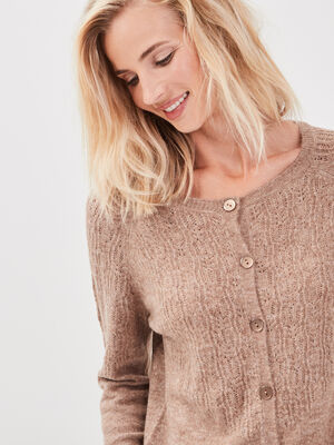 Gilet manches longues boutonne taupe femme