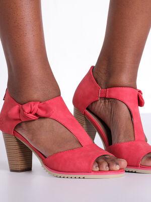 Sandales a talons avec noeud rouge fluo femme