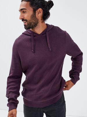 Pull manches longues a capuche violet fonce homme