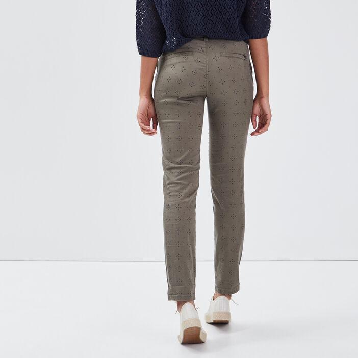 Pantalon chino Instinct vert kaki femme