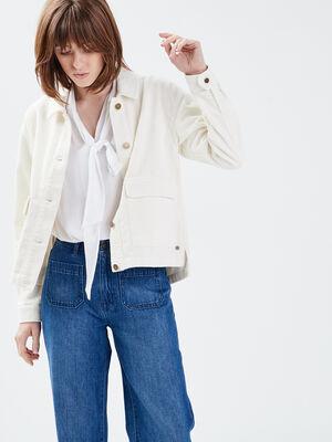 Veste droite velours cotele ecru femme