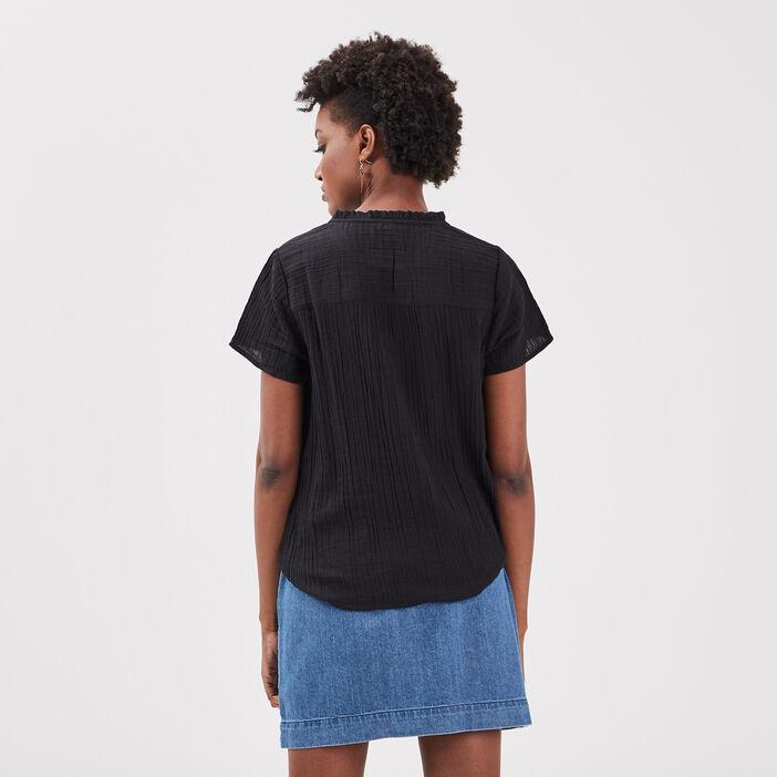 Blouse manches courtes noir femme