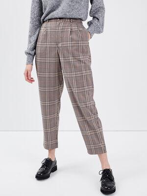Pantalon slouchy taille haute marron femme