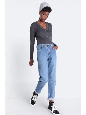 Jeans boyfriend a surpiqures denim used femme