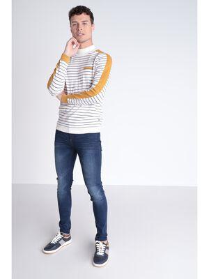 Jeans skinny passant a bandes denim brut homme