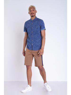 Bermuda droit bandes laterales marron clair homme