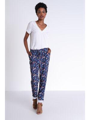 Pantalon large fluide bleu marine femme