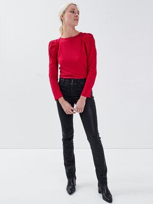 Jeans regular enduit denim noir enduit femme