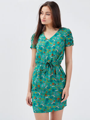 Robe droite ceinturee vert menthe femme