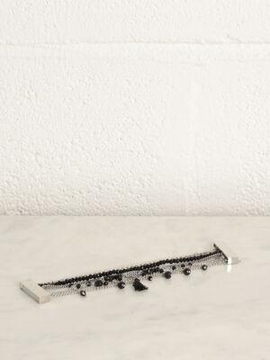 Bracelet multirangs couleur argent femme