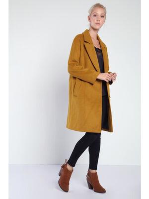 Manteau caban maille unie jaune or femme