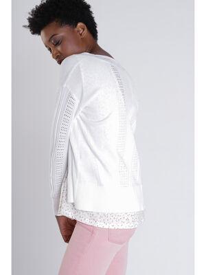 Gilet manches longues droit blanc femme