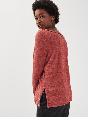 Sweat manches longues rouge fonce femme