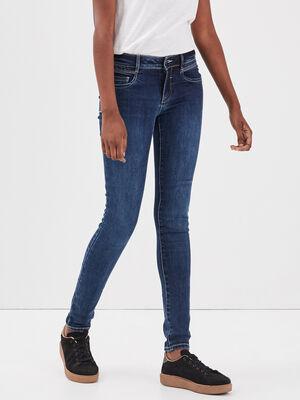 Pantalon skinny enduit denim brut femme