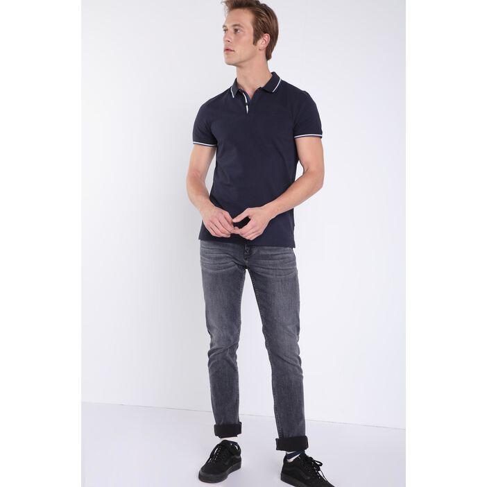 Jeans slim effet used denim snow gris homme