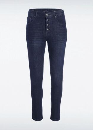 Jeans slim boutons denim brut femme