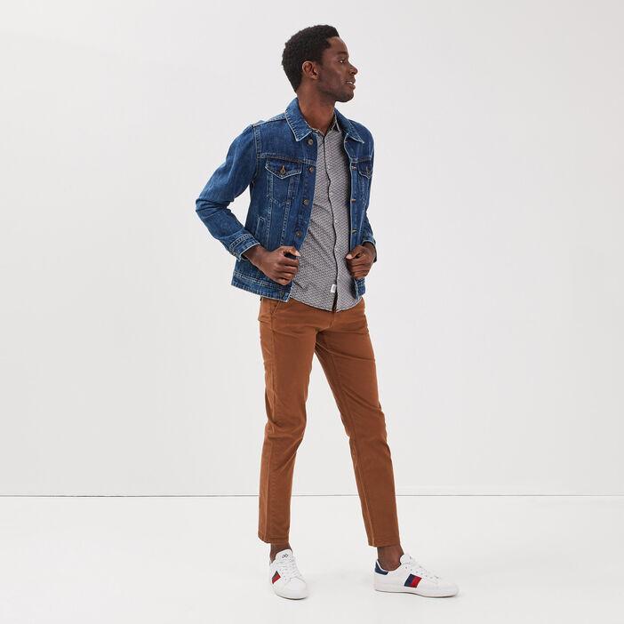 Pantalon chino à ceinture marron homme
