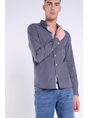 chemise imprimee col franais homme bleu marine