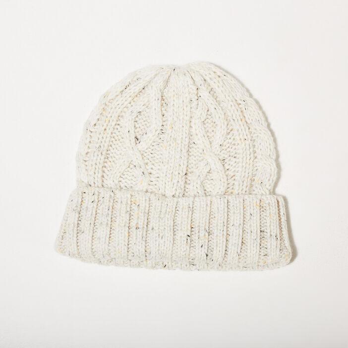 Bonnet tricoté ecru homme