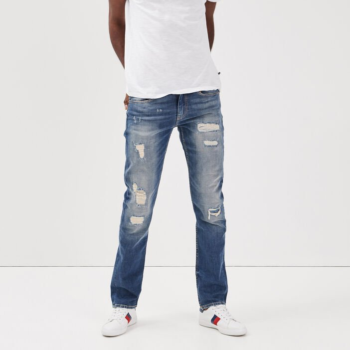 Jeans straight effet destroy denim used homme