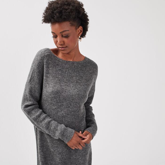 Robe pull droite gris foncé femme