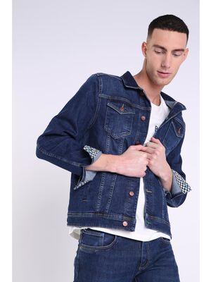 veste en jean droite homme surcoutures denim stone