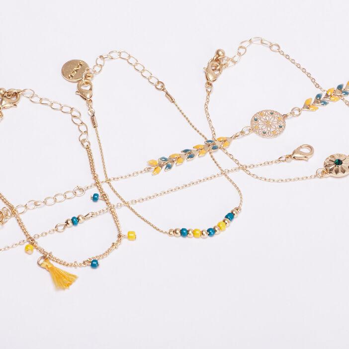 Lot 5 bracelets jaune moutarde femme