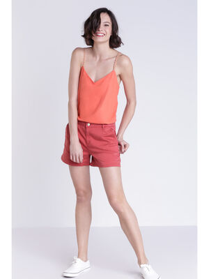 Short chino 4 poches orange fonce femme