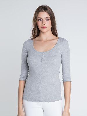 T shirt col rond boutons Instinct gris clair femme