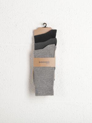lot 3 paires de chaussettes homme unies gris clair