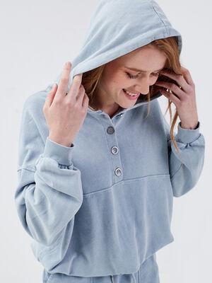 Sweat manches longues bleu gris femme