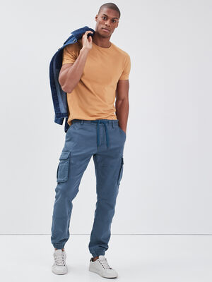 Pantalon cargo taille a cordon bleu petrole homme