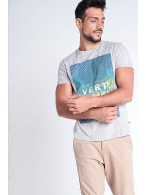 T shirt imprime gris clair homme