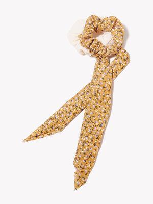 Lot 2 chouchous jaune femme