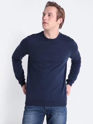 Pull Instinct manches longues bleu marine homme