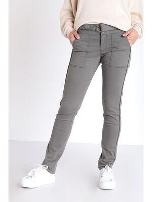 Pantalon droit a ceinture vert kaki femme