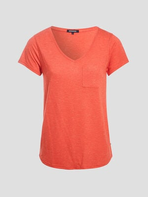T shirt maille fils metallises orange corail femme