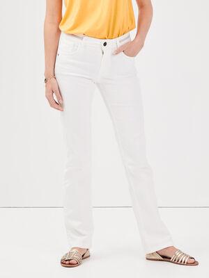Jeans bootcut details tresses blanc femme