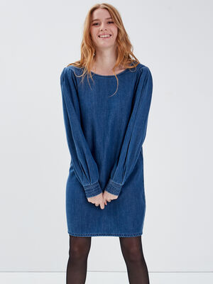 Robe droite en jean denim stone femme
