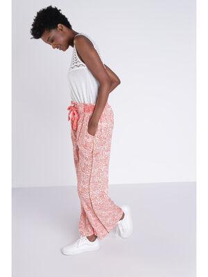 Pantalon fluide orange femme