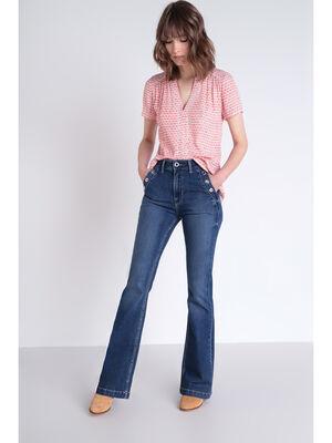Jeans bootcut a oeillets denim stone femme