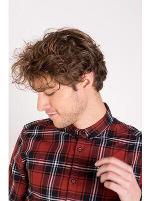 chemise droite homme carreaux rouge fonce