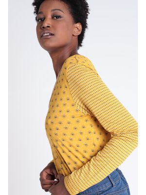 T shirt Instinct col en V jaune moutarde femme