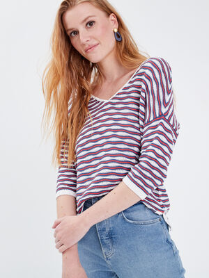 Pull eco responsable rouge corail femme