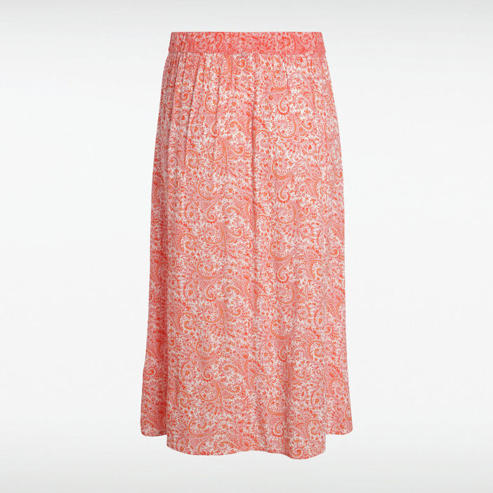 71e3ae2139ec6c Jupe longue imprimée orange femme | Vib's