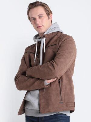 Veste cintree col montant marron clair homme