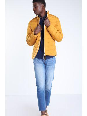 Doudoune cintree zippee jaune moutarde homme