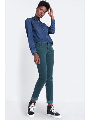 Pantalon slim effet velours vert fonce femme